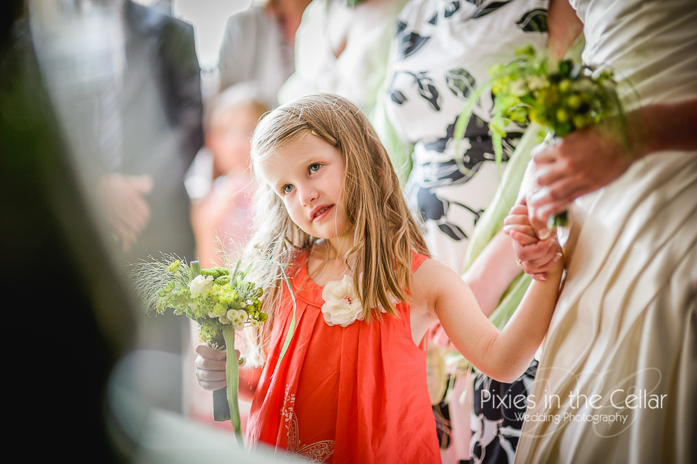 Coral flower girl French wedding