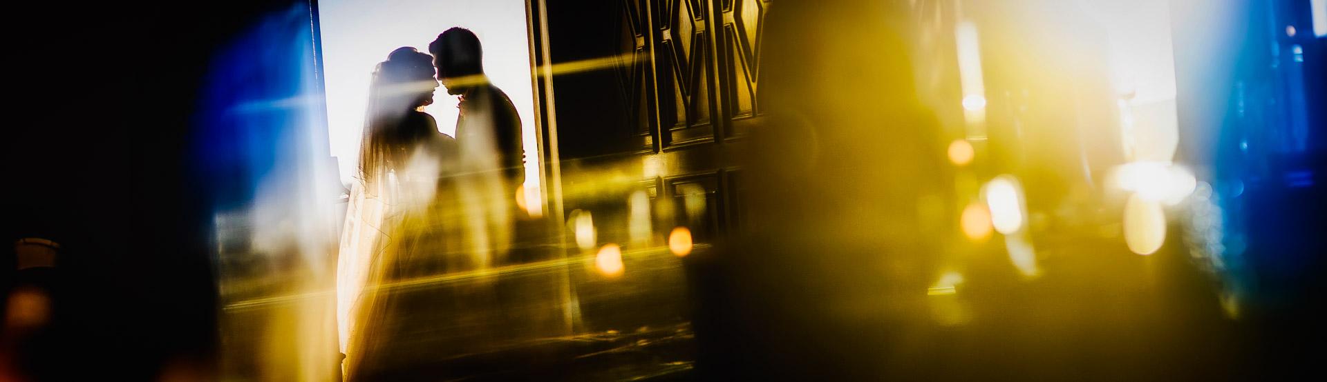 wedding couple silhouette in doorway