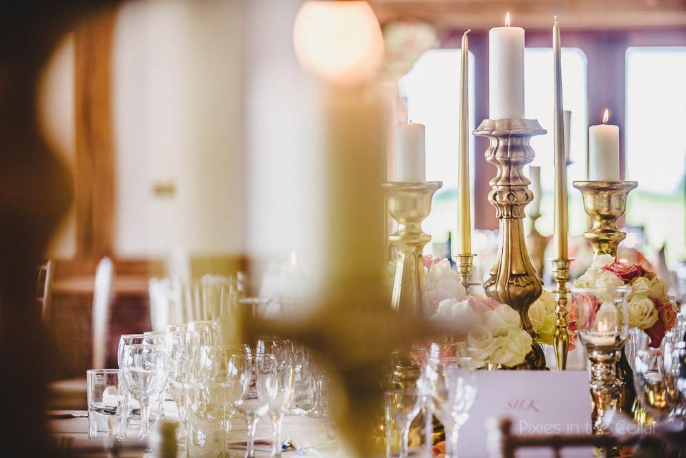 gold peach wedding tables