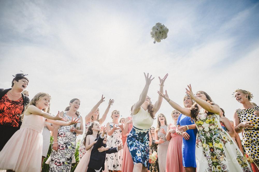 catching bouquet wedding