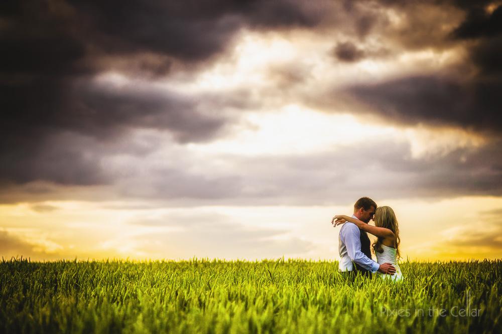 sunset barley field bride groom