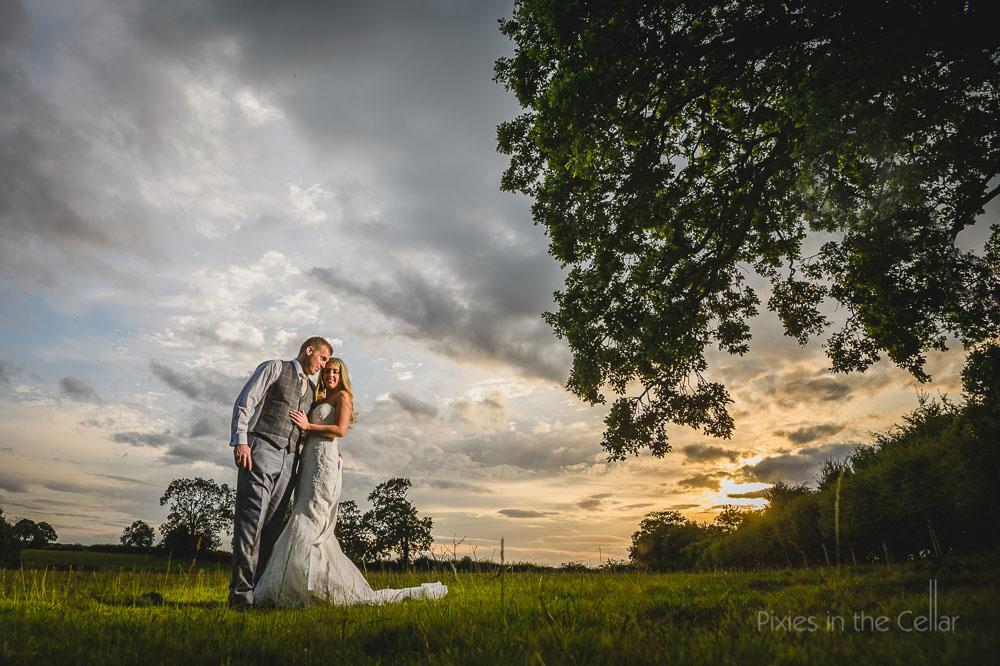 evening light bride and groom