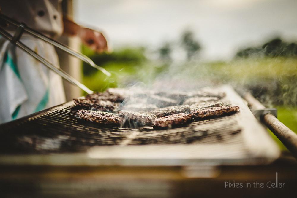 burgers on wedding BBQ