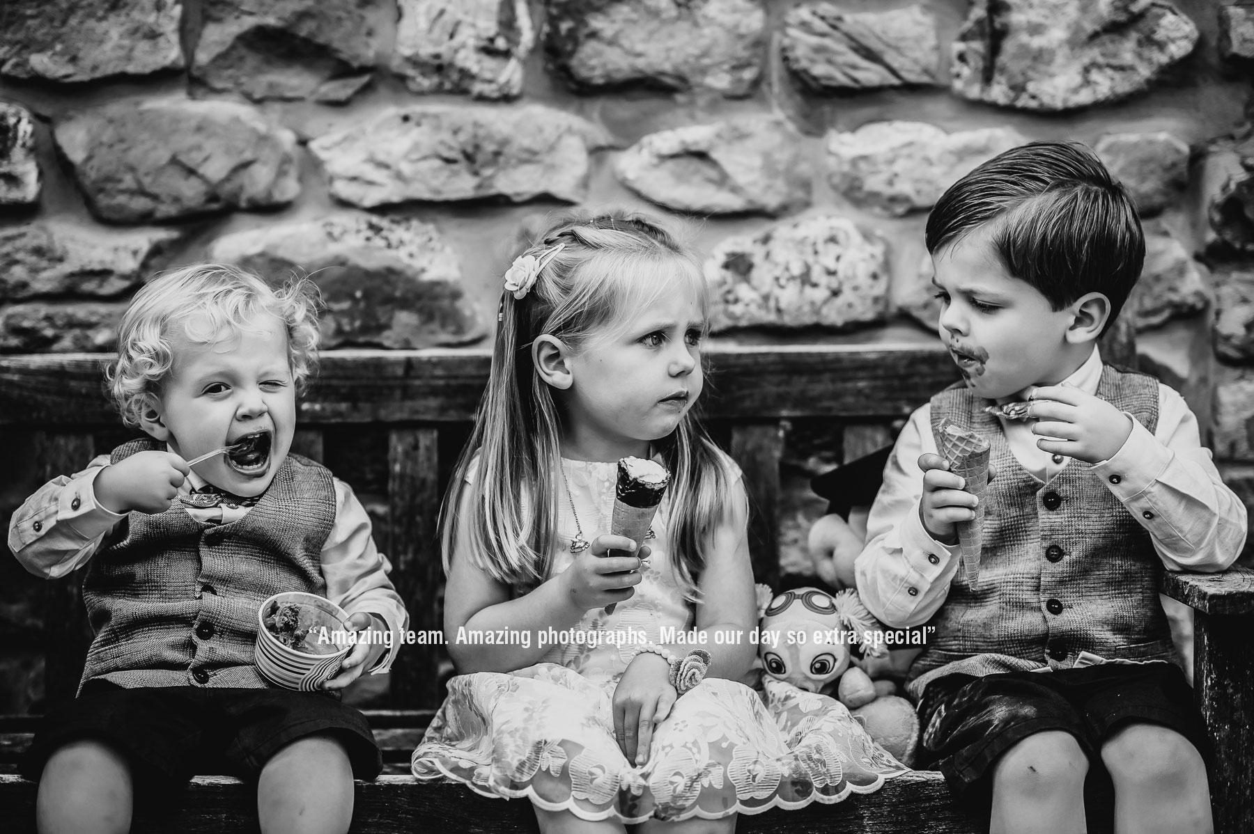 kids eating ice cream at a wedding