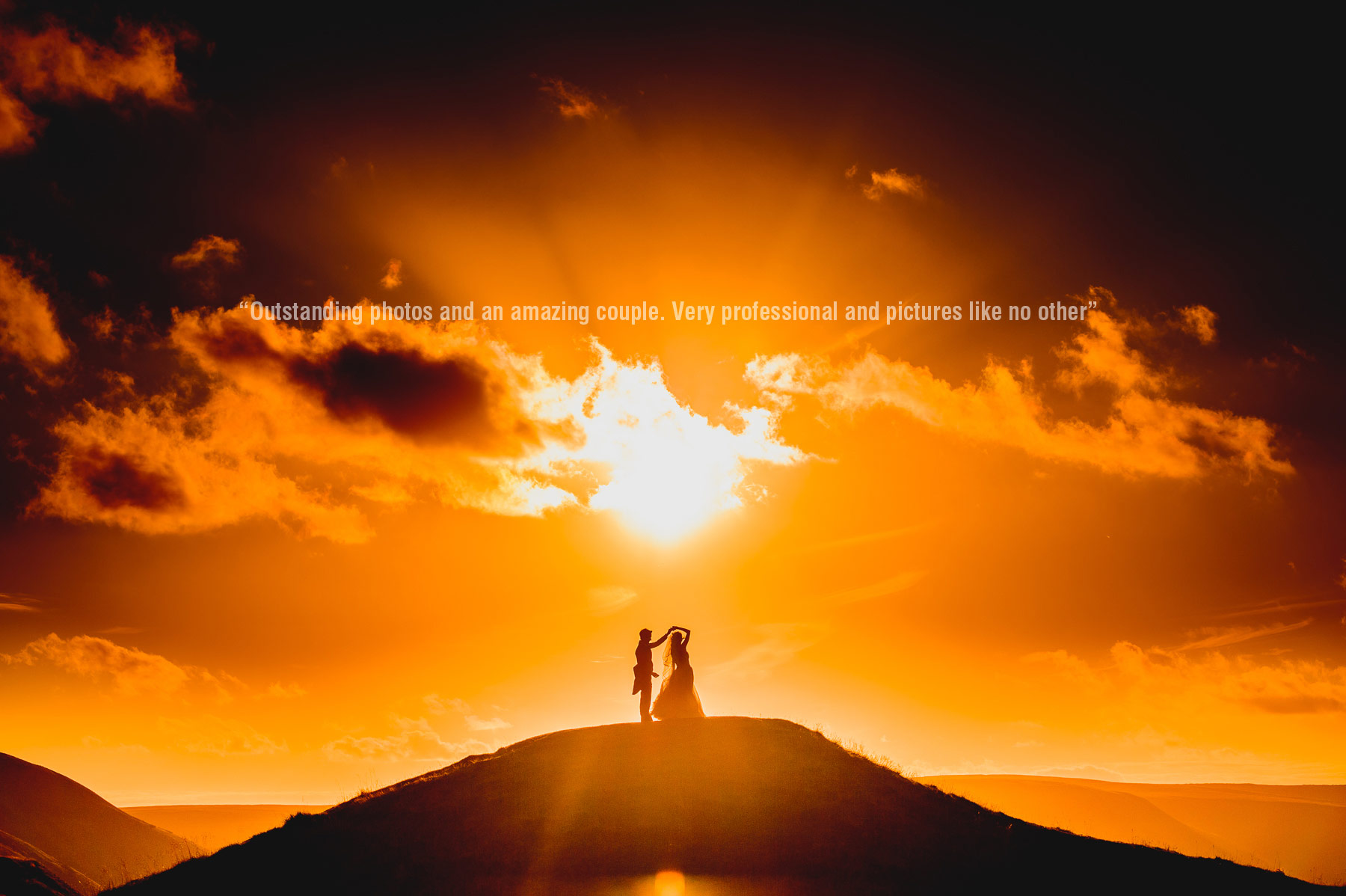 bride and groom with sunset