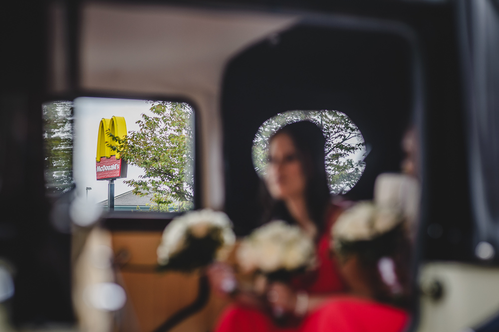 Mcdonalds through wedding car