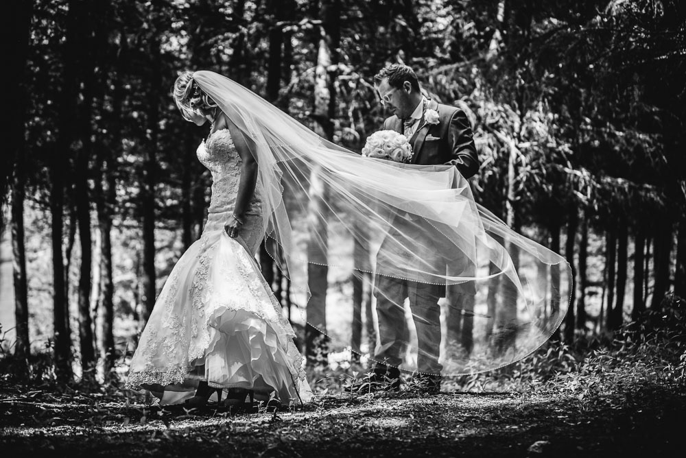 woodland wedding with veil