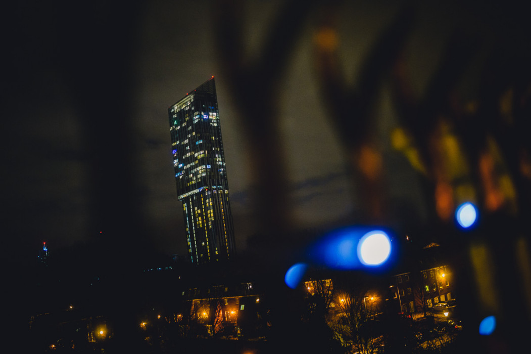 Manchester beetham tower at night
