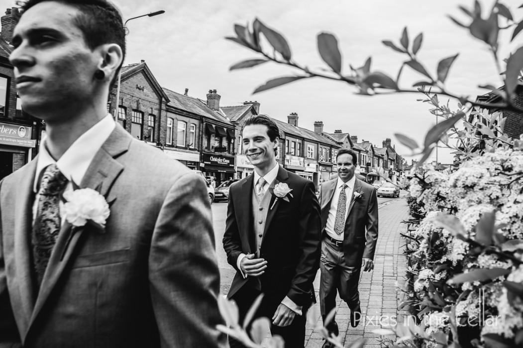groomsmen on way to wedding