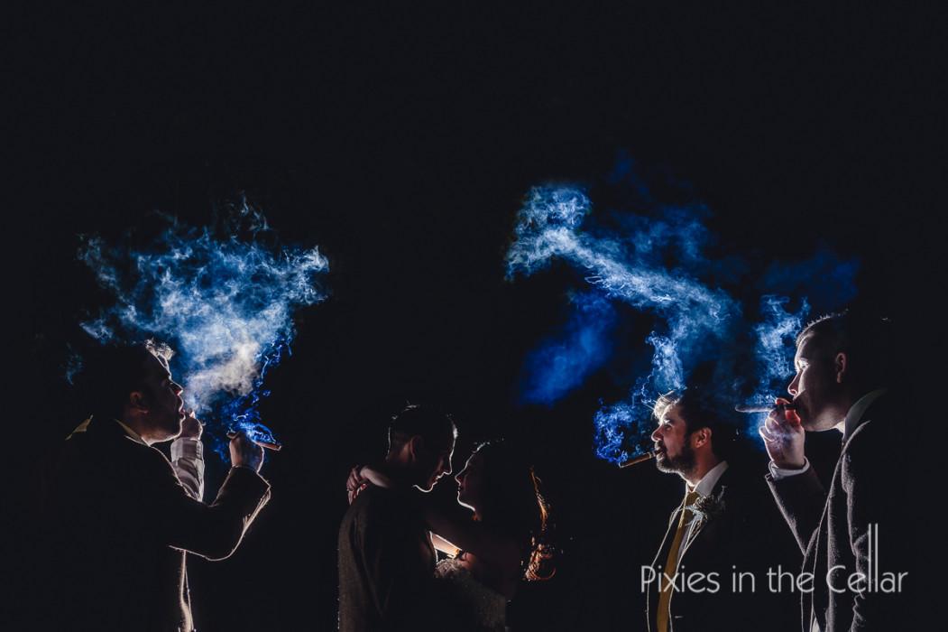 cigar smoking wedding