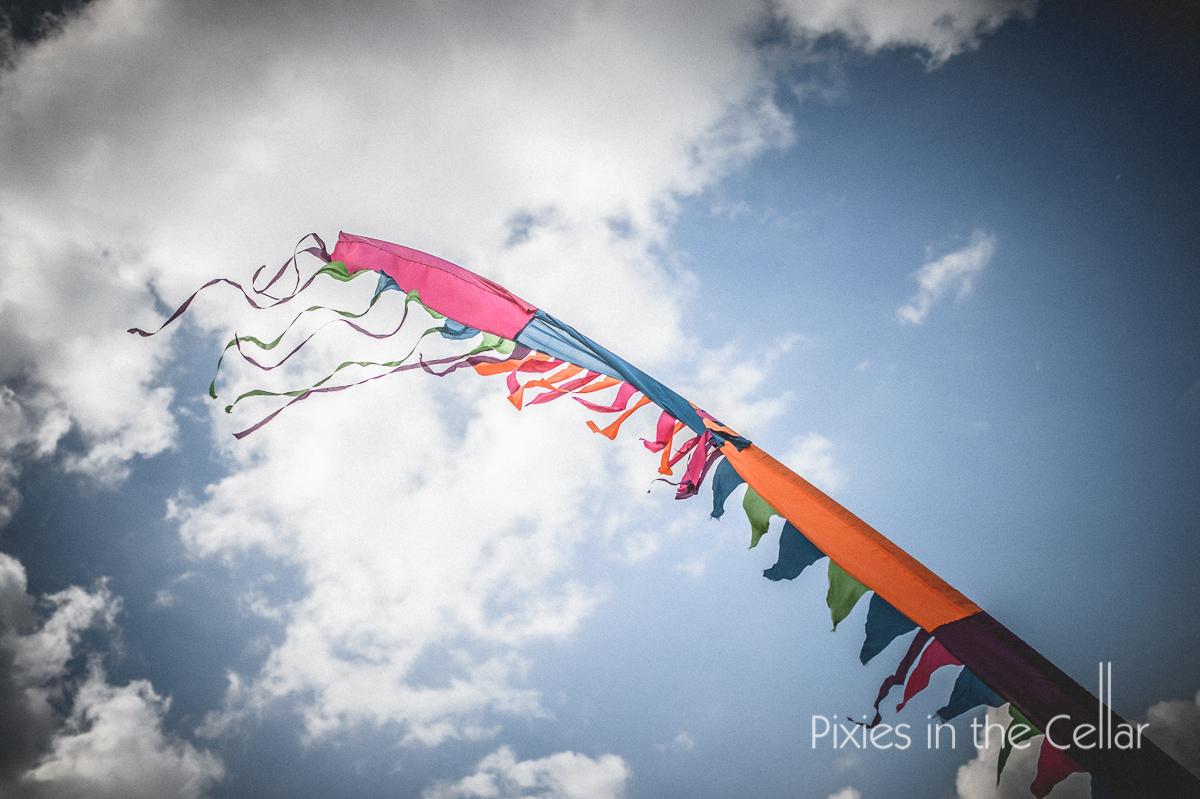 wedding festival flag in wind