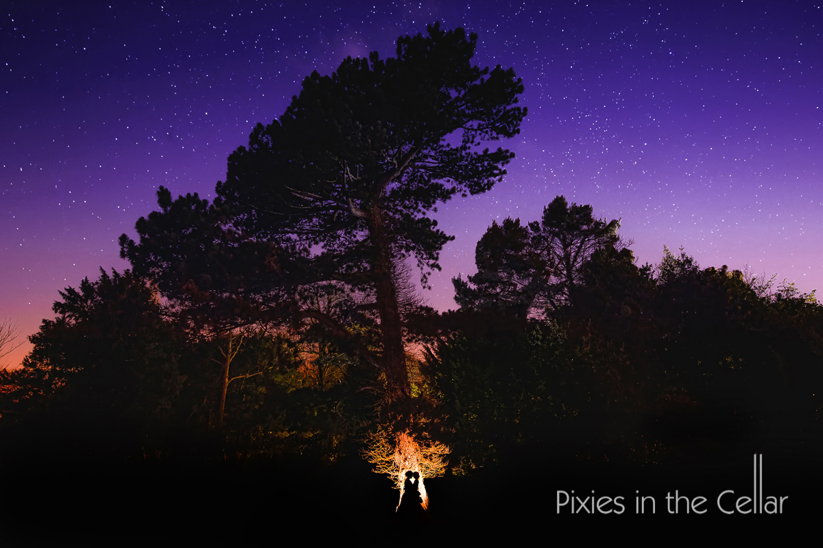 Yorkshire wedding photography night time starry sky and trees