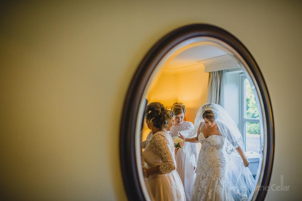 bride and bridesmaids mirror