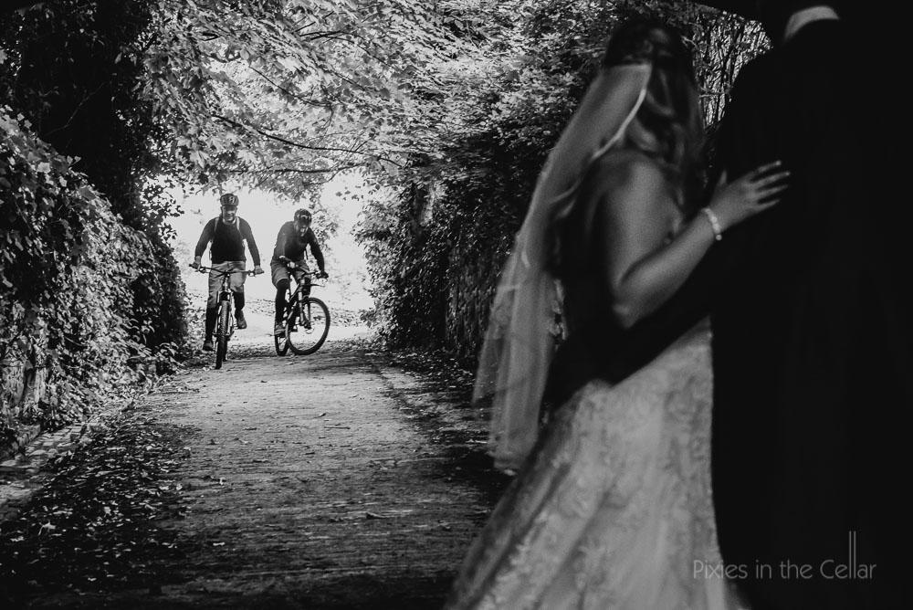 mountain bikes bride groom wedding