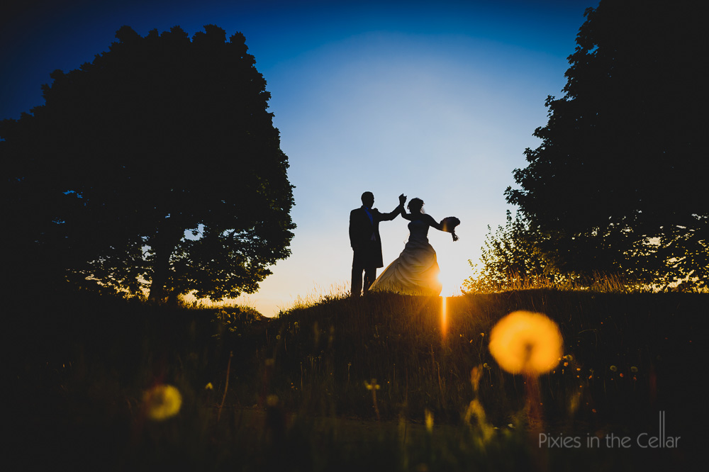 sunset dancing silhouette