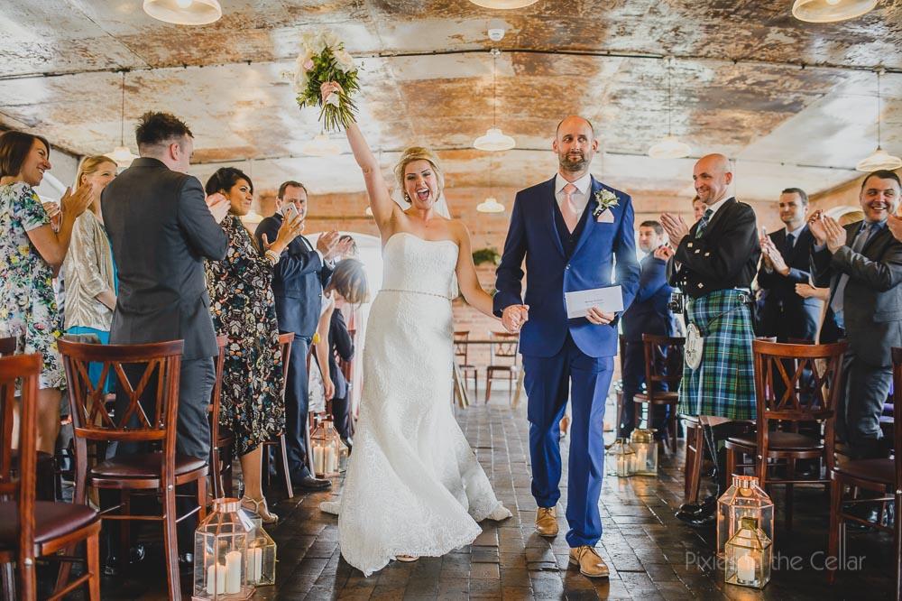 west mill wedding ceremony happy bride