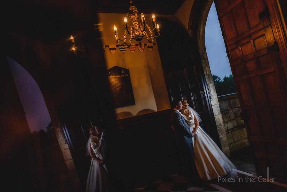 hazelwood castle wedding rainy day yorkshire