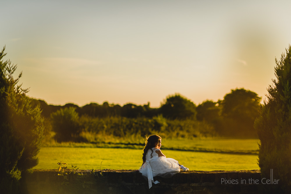 wedding flower girl evening light lancashire