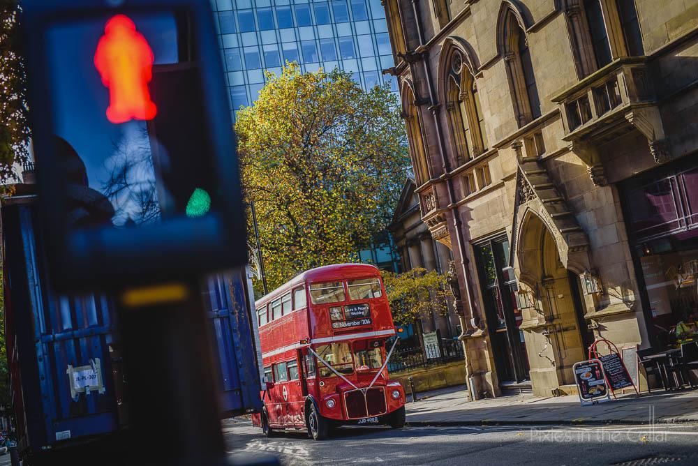Manchester city centre wedding red double decker bus