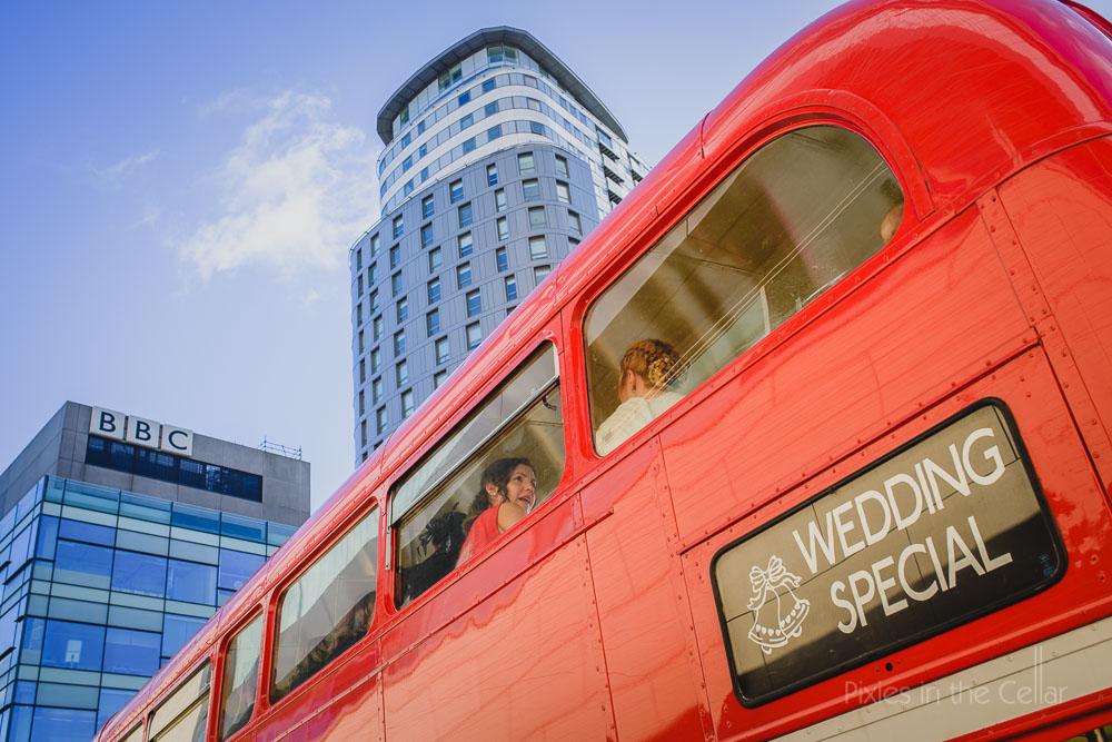 wedding bus red double decker