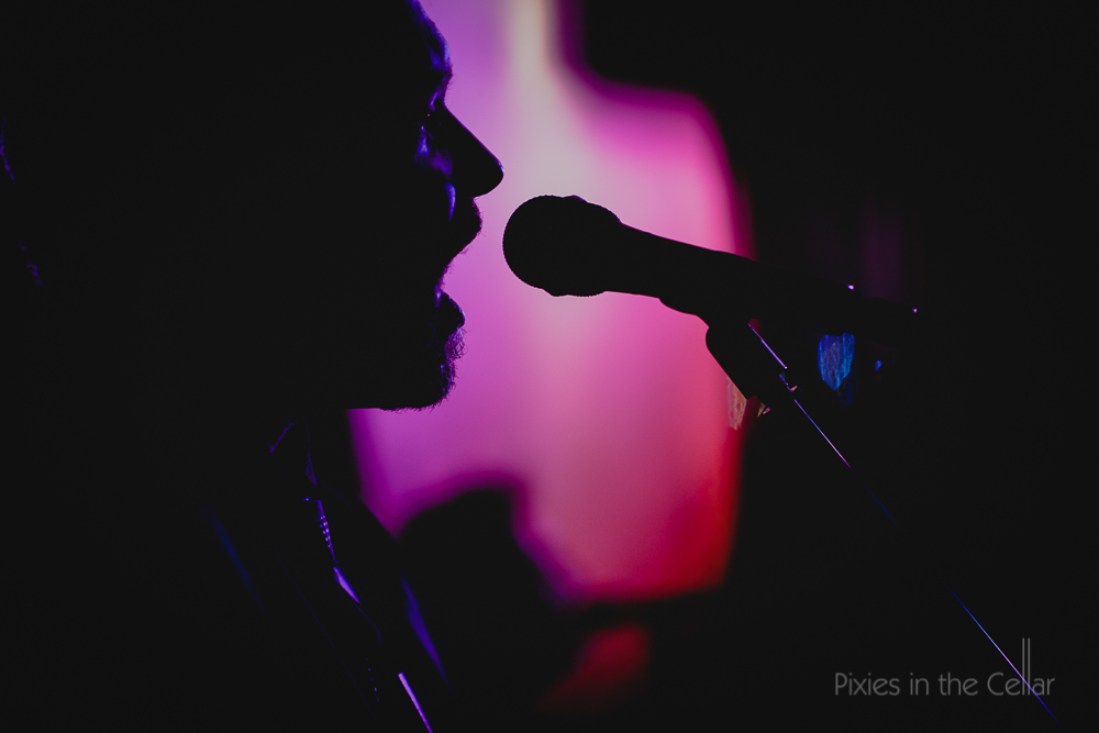 male singer and microphone purple