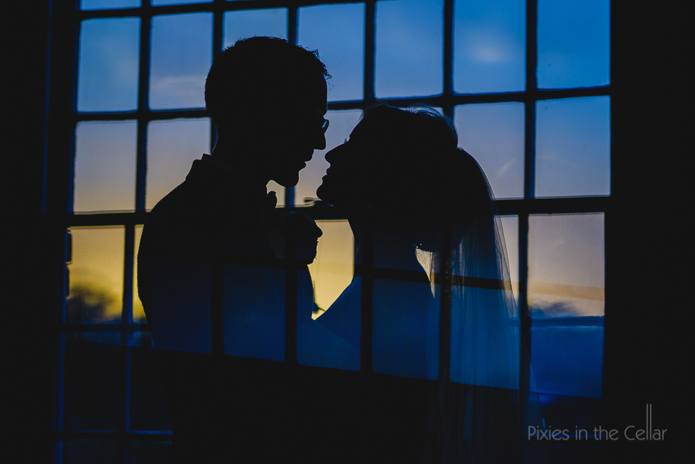 wedding silhouette at mill wedding venue uk