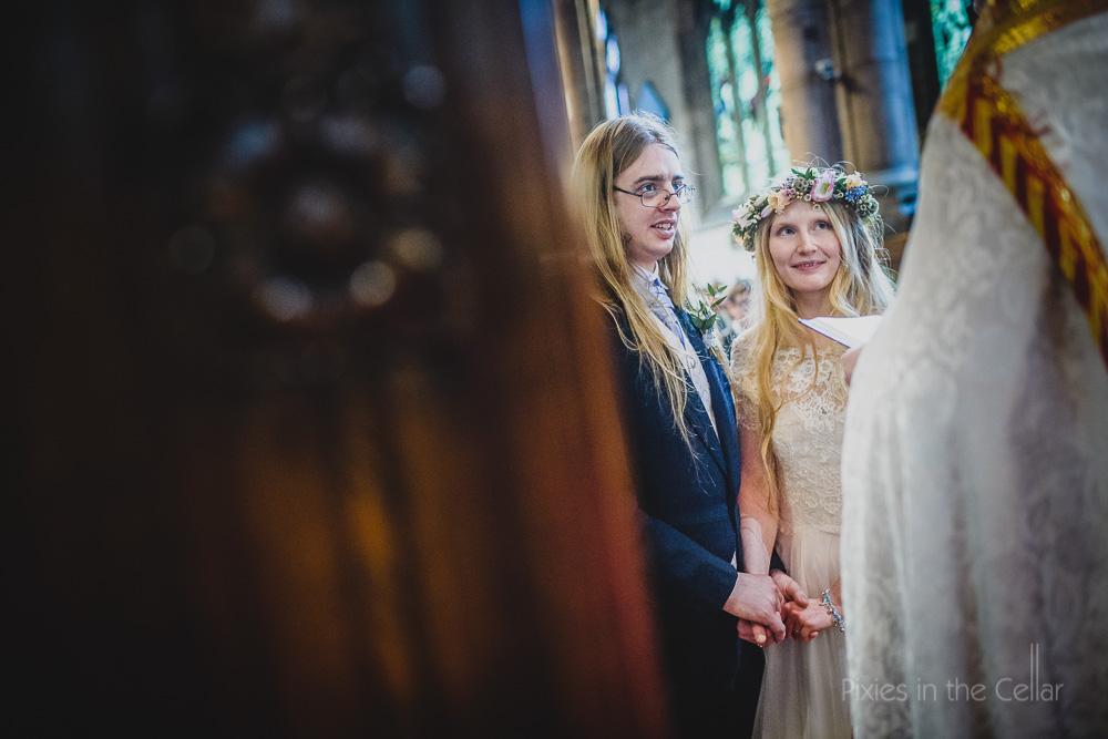 reassuring holding hands wedding
