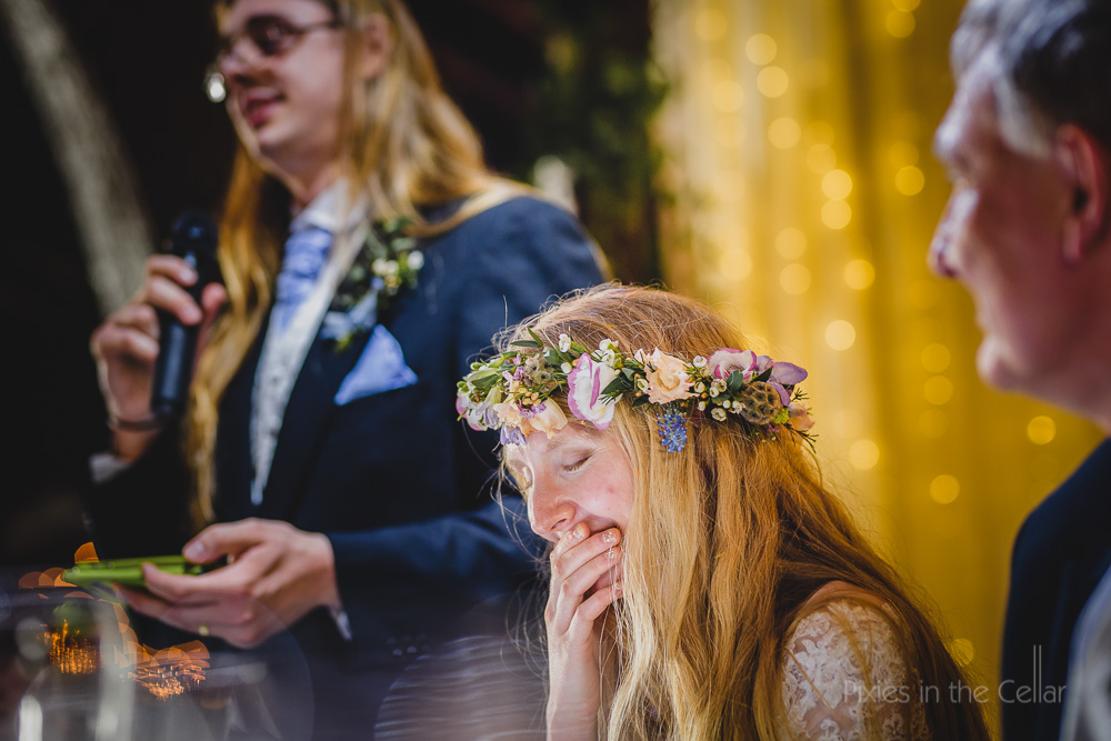 bride with flower crown speeches reactions