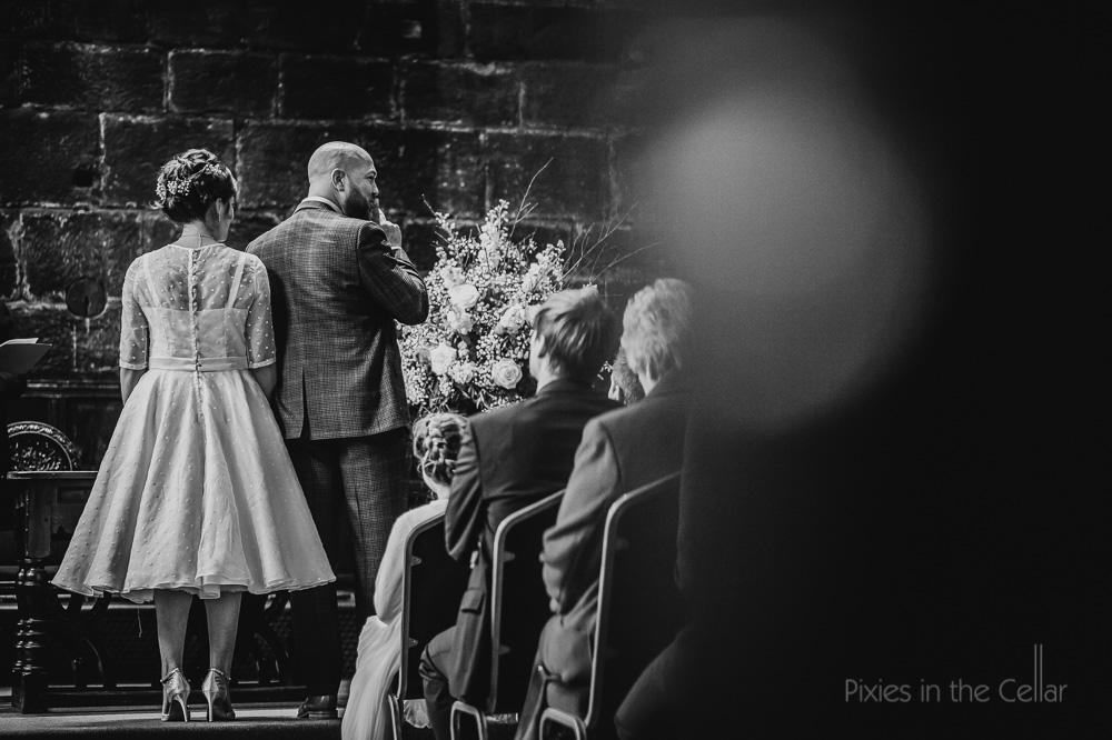 chethams wedding photography ceremony black white