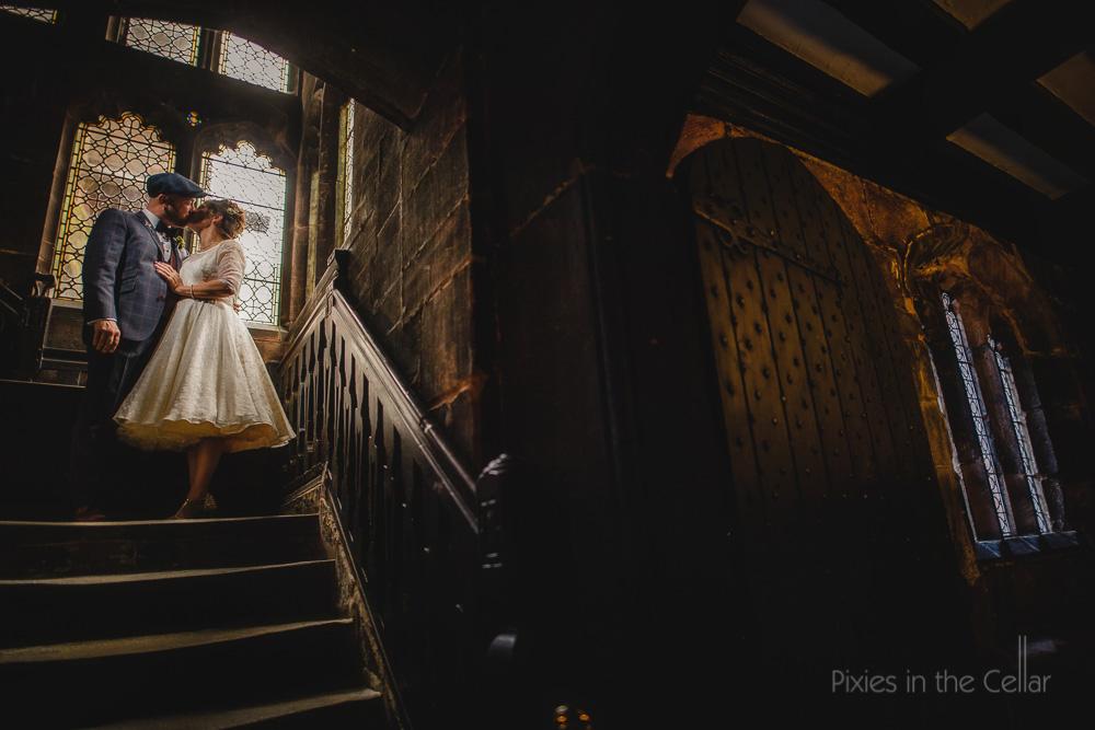 chethams wedding photography tea length wedding dress