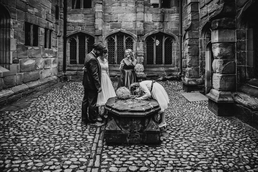 chethams fox in courtyard Manchester wedding