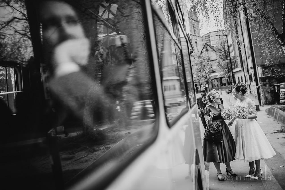 wedding bus natural moments