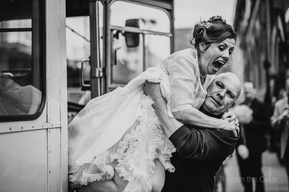 bride exiting bus best photo wedding moments