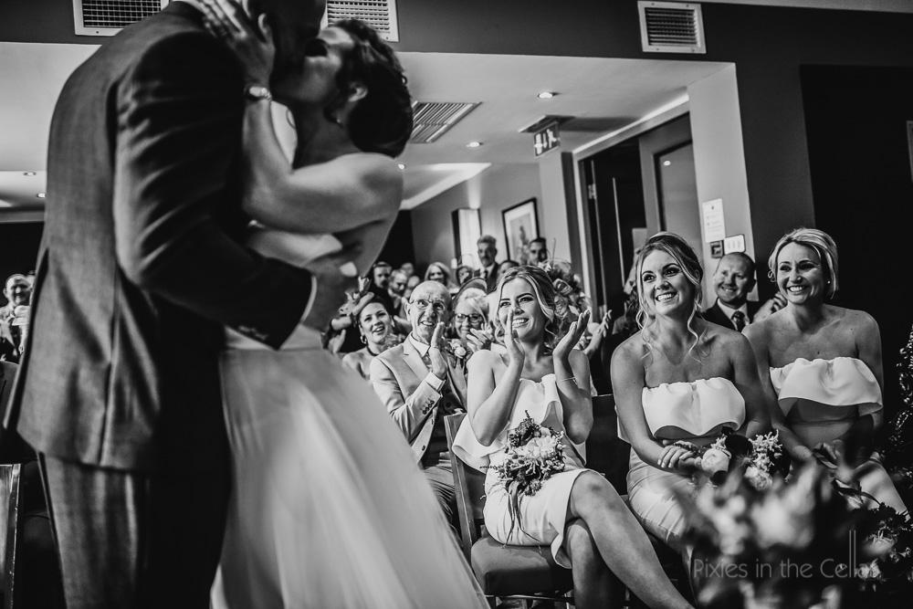 first kiss wedding guests bridemaids