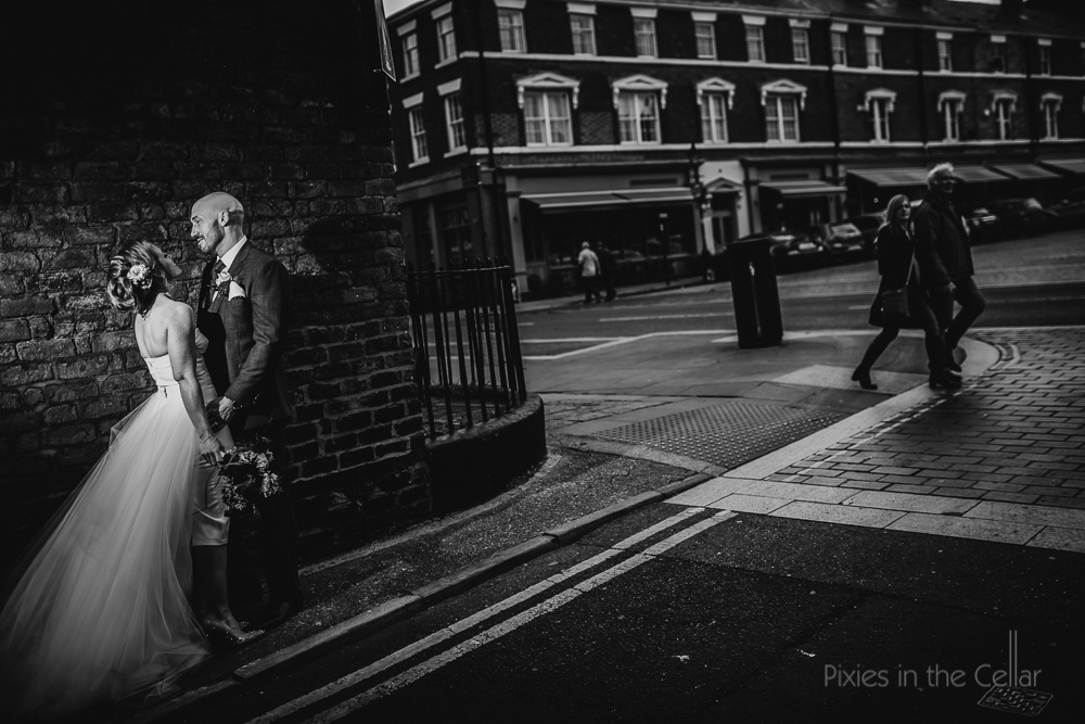 life on the streets of liverpool wedding portrait