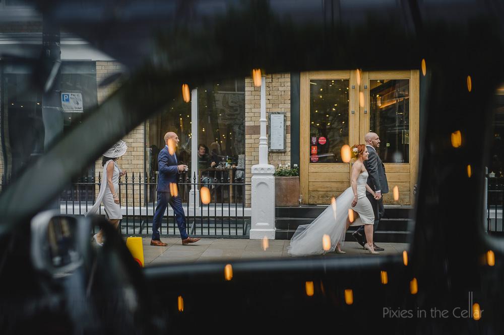Hope street wedding photography walking to TOBS