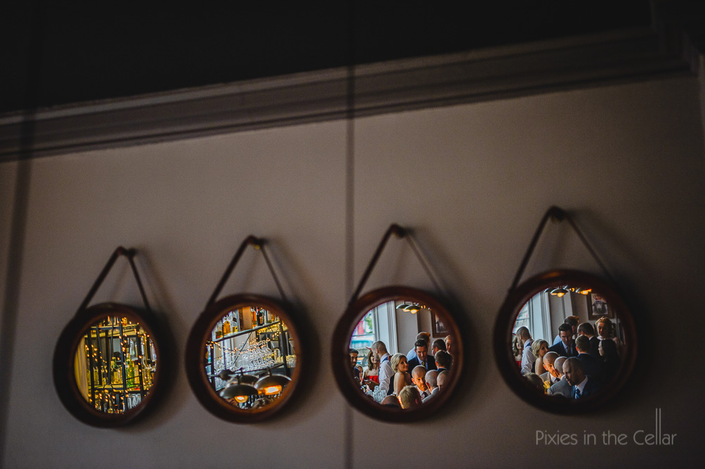 reflections of a city wedding party