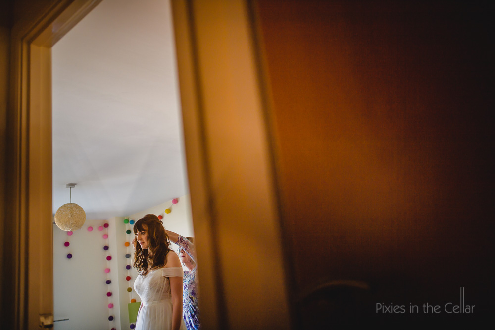 colourful wedding bride pom poms