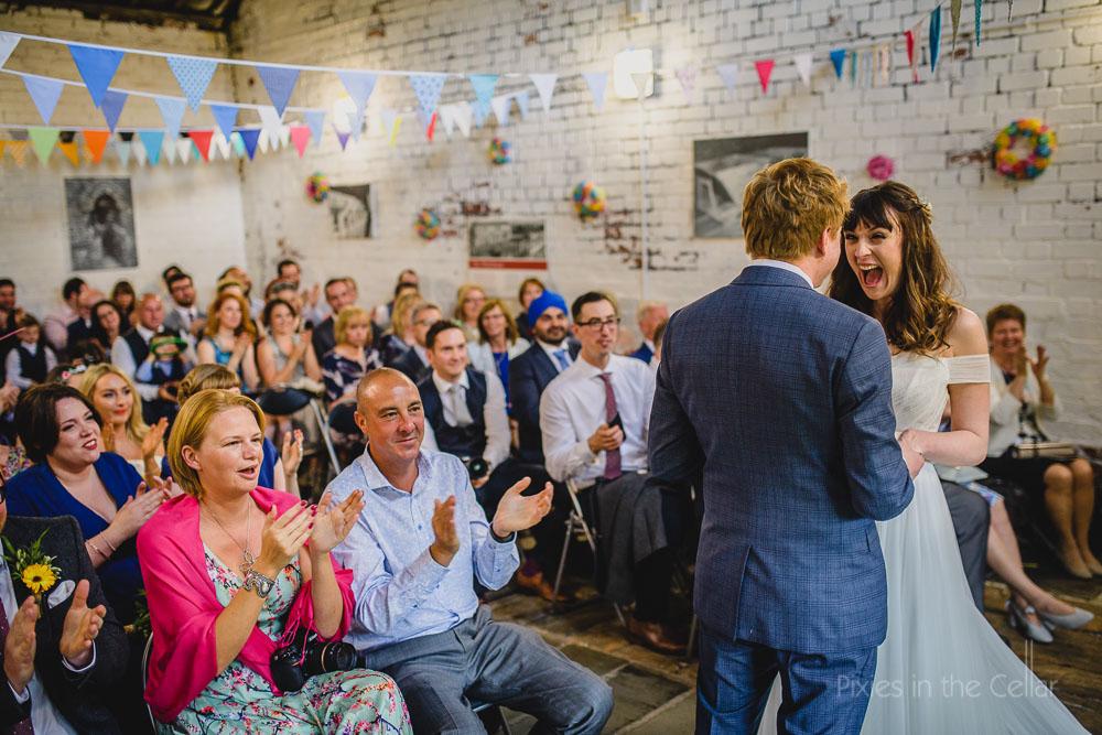 Thwaite mills wedding warehouse ceremony happy bride