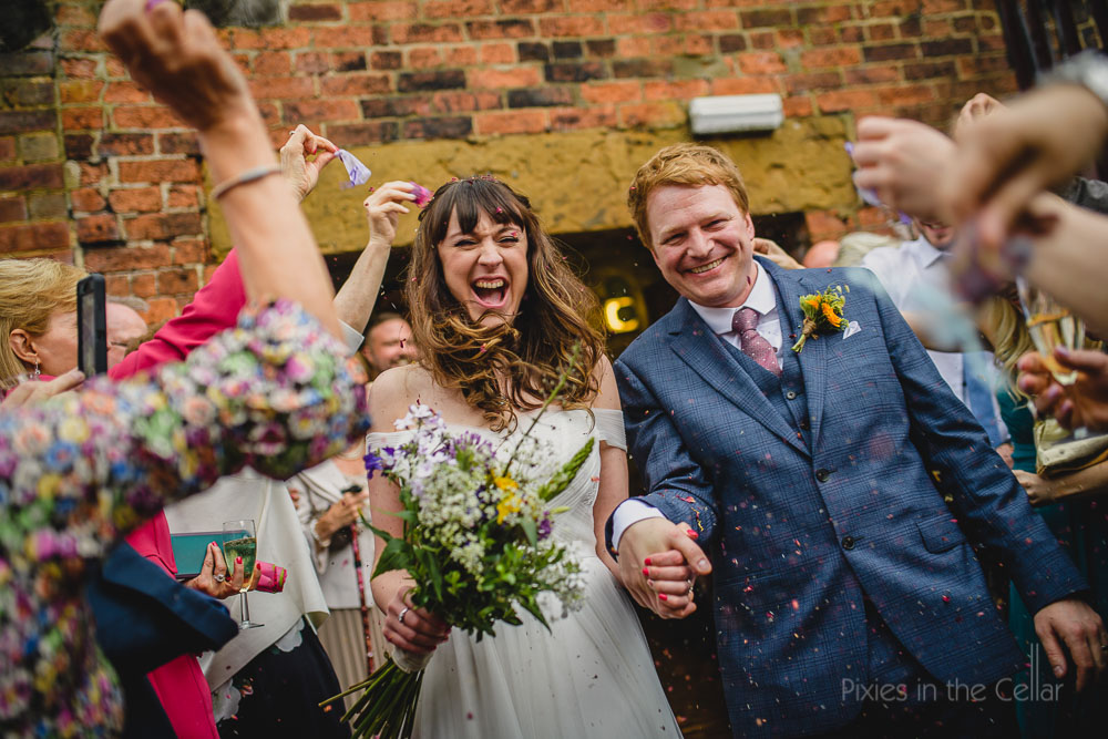 confetti run yorkshire wedding