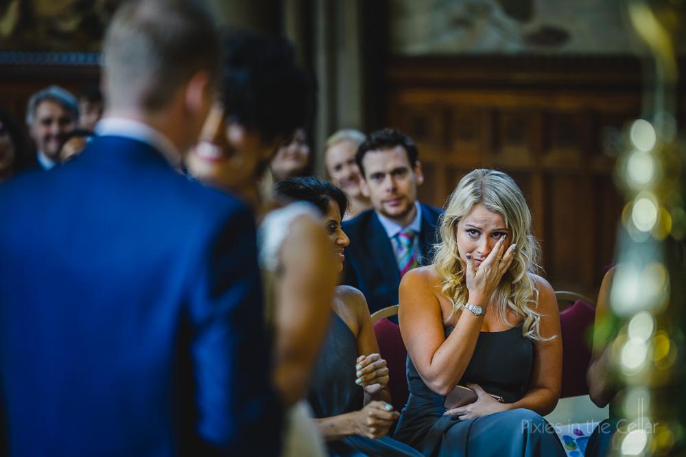 bridesmaid ceremony emotion