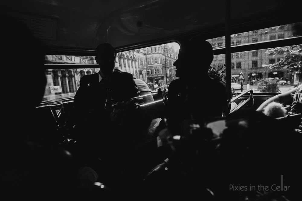 Manchester city centre wedding bus silhouettes