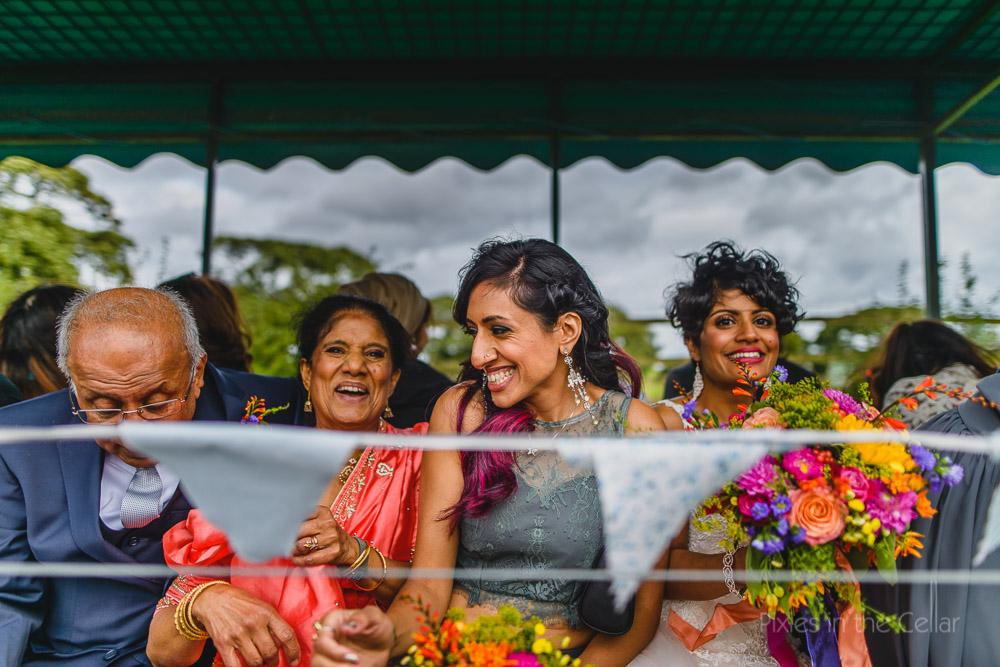 tractor trailer ride fun at wedding cheshire