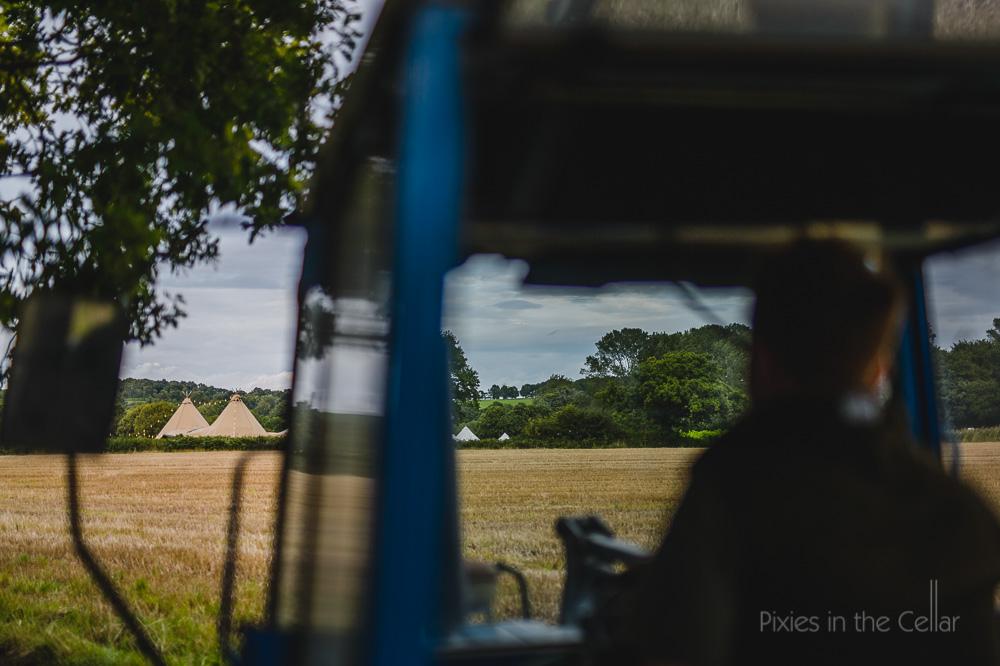 Bellefields Farm wedding photography tractor ride