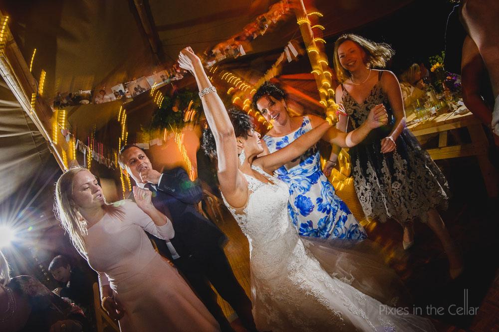 wedding dancing disco bride fairy lights