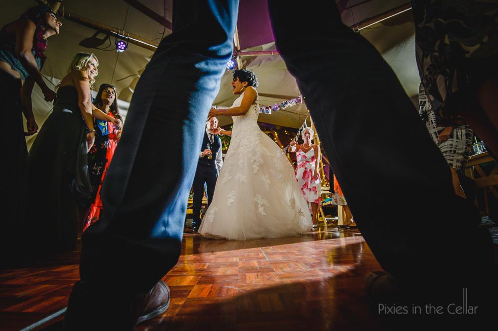 Outdoor tipi wedding dancing