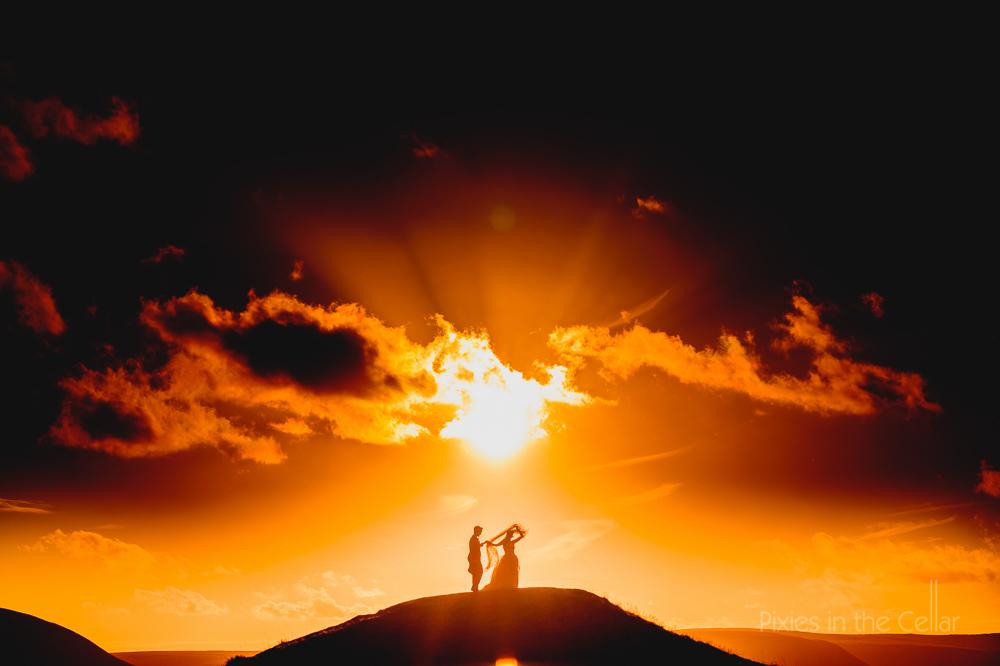 epic sunset UK wedding photography