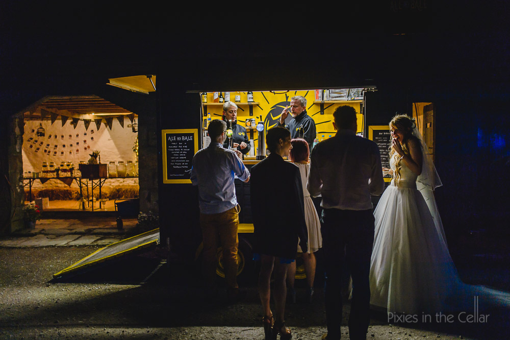 Ale on the Bale rustic mobile wedding bar at Edale Gathering