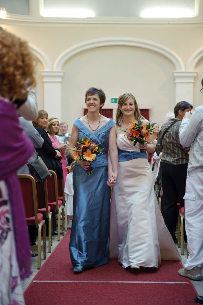 Ashbourne town hall wedding two brides exit
