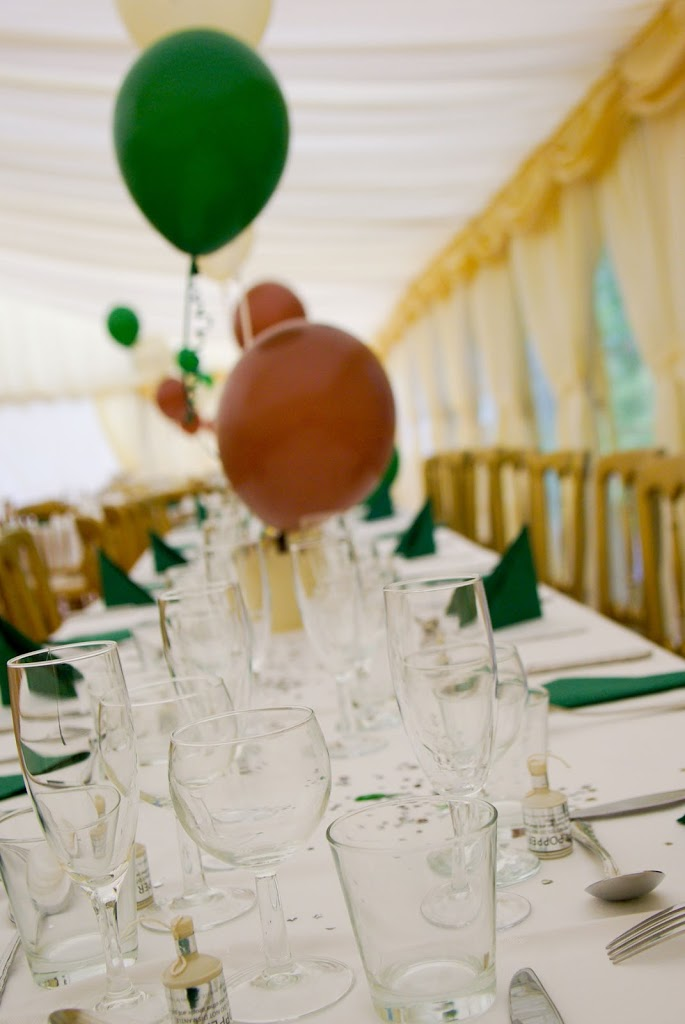 Hargate Hall civil partnership in marquee green and rust balloons
